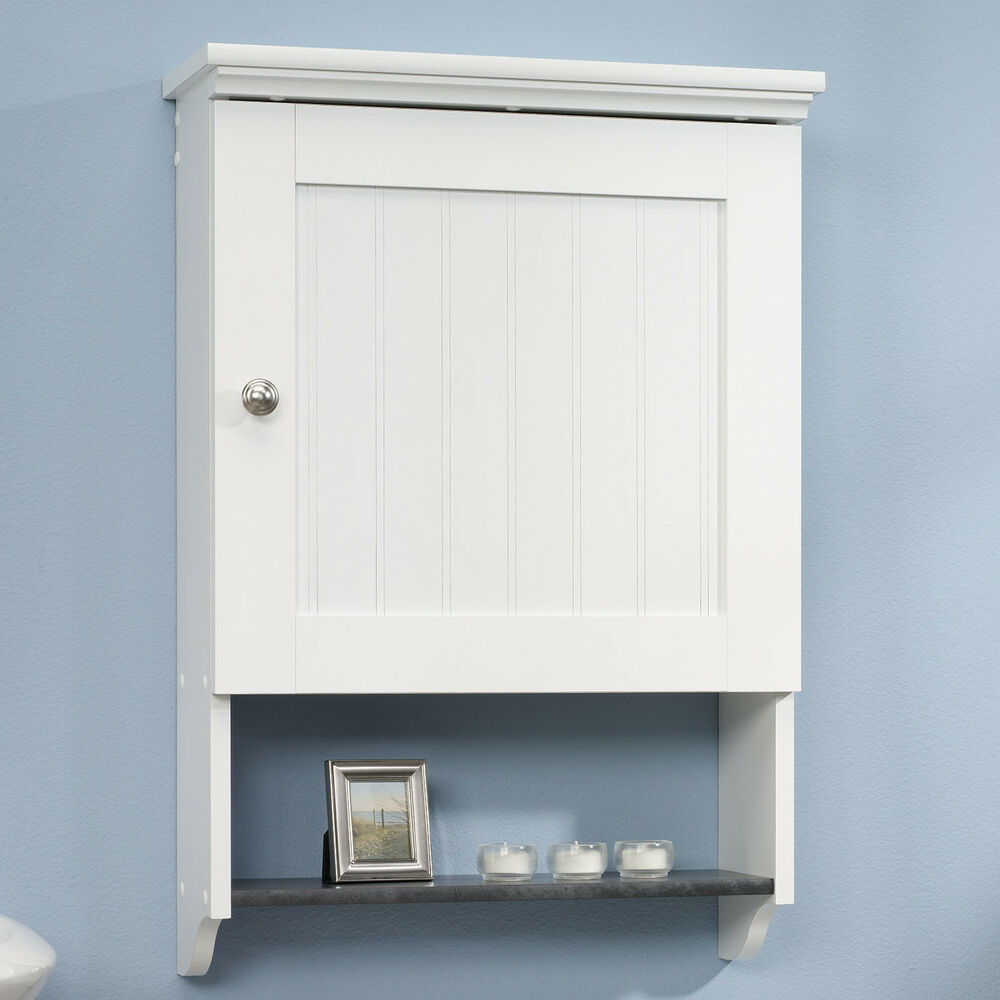 Bathroom Wall Cabinet White Over Toilet Slate Shelf Bead