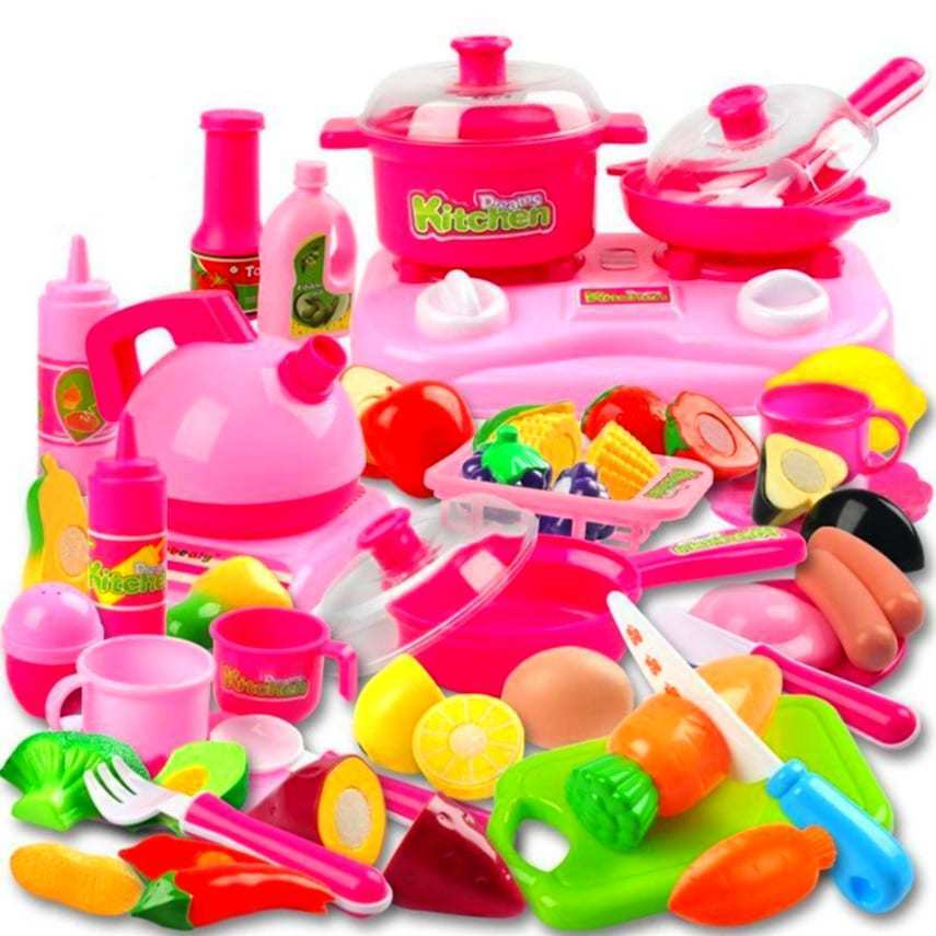 Pretend play kitchen set for kids 42 piece pink cooking for Children s kitchen set