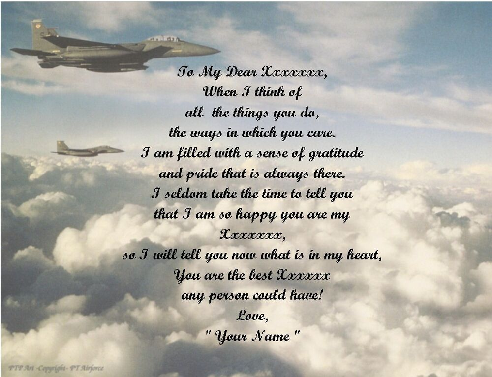 Air Force Personalized Poem Gift 4 Fathers Day, Mothers
