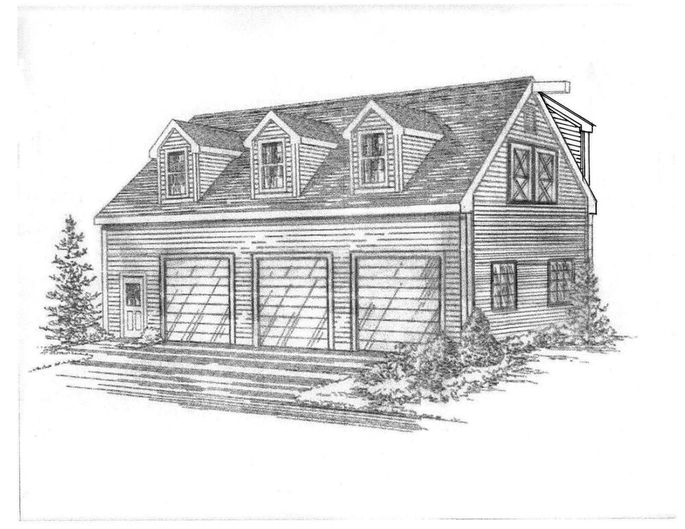 S L on 3 car dormer garage plans