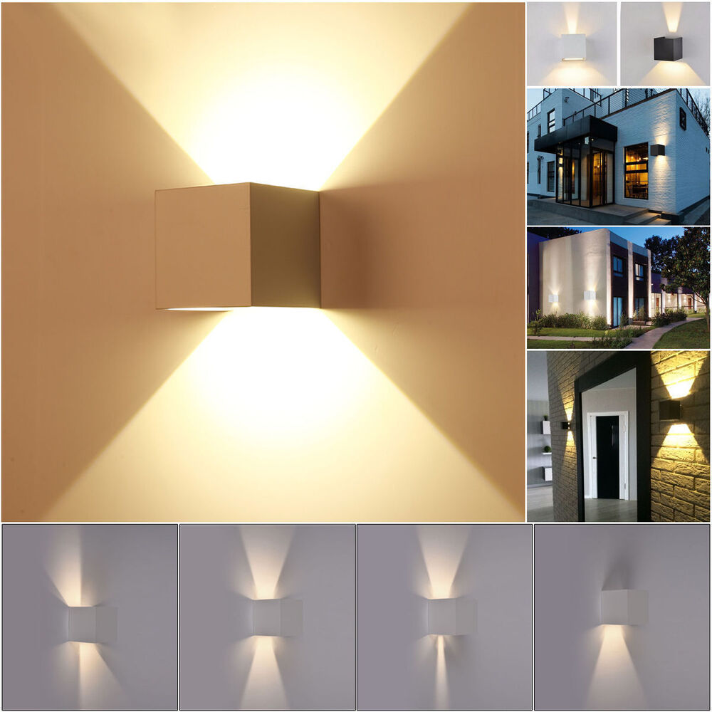 7w modern square led wall light up down cube indoor. Black Bedroom Furniture Sets. Home Design Ideas