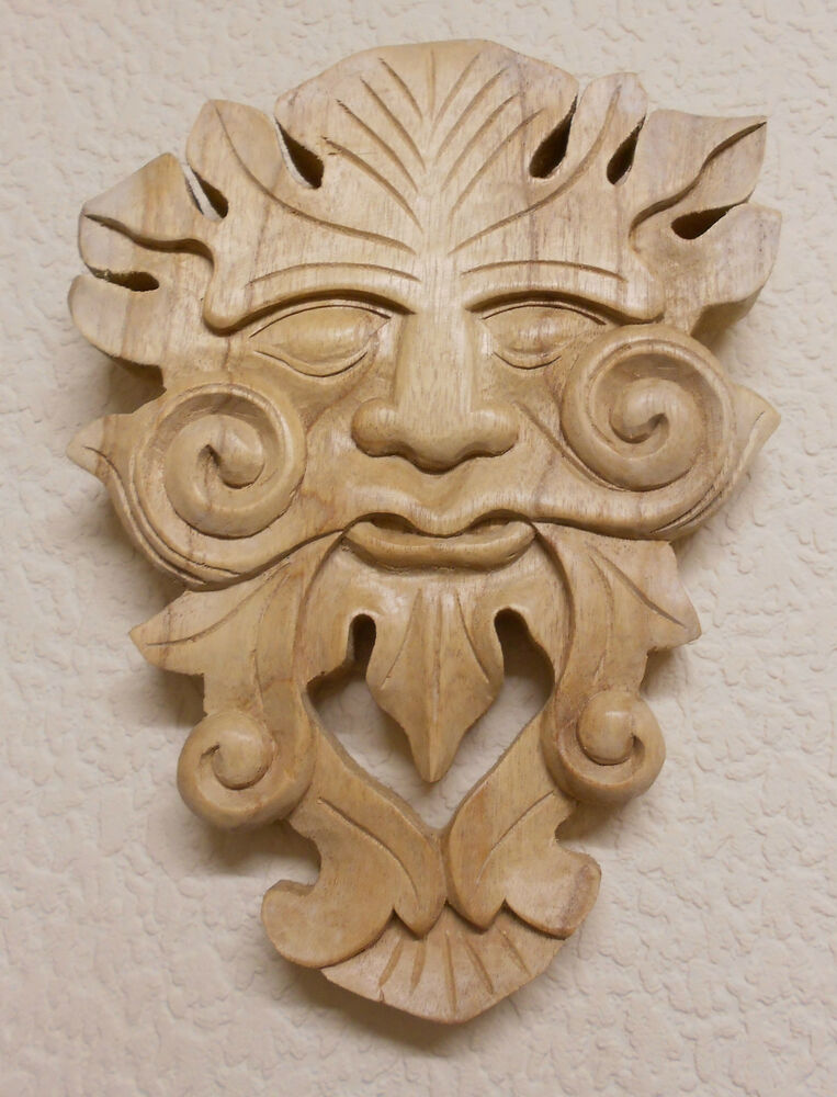 Hand carved wooden wood wall plaque green man wizard