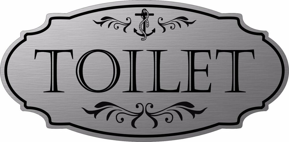 Stainless steel color toilet nautical door sign free shipping ebay for Stainless steel bathroom signs