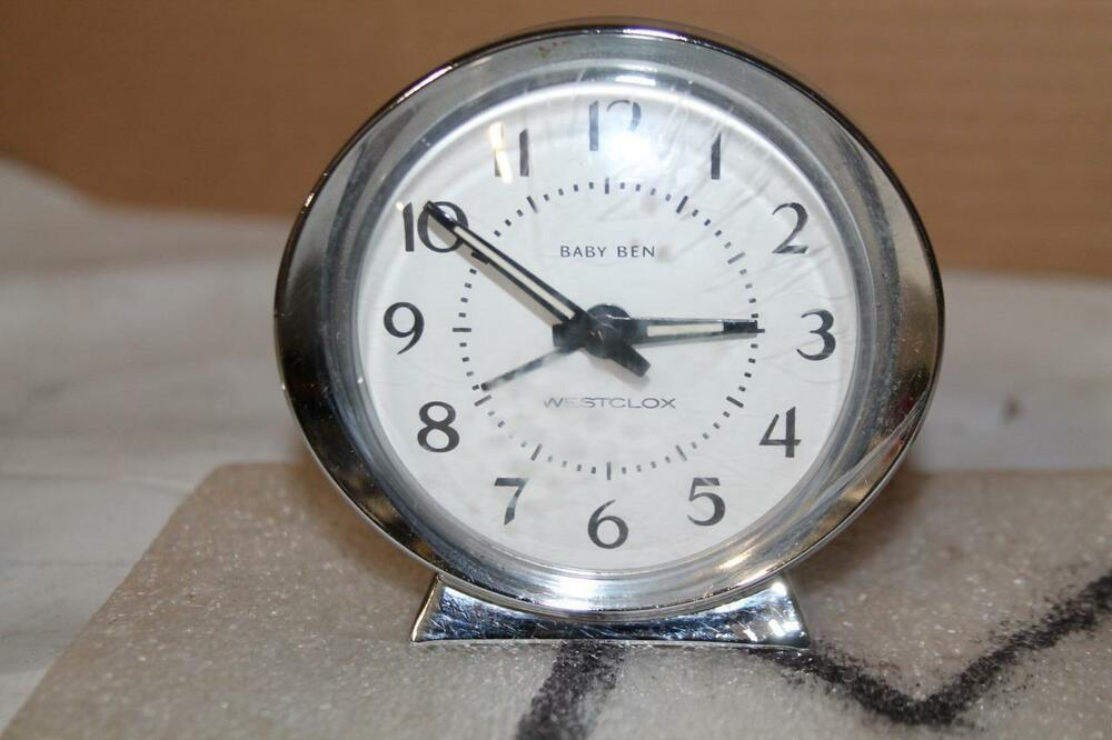 Vintage Westclox Baby Ben Wind Up Alarm Clock Works Silver