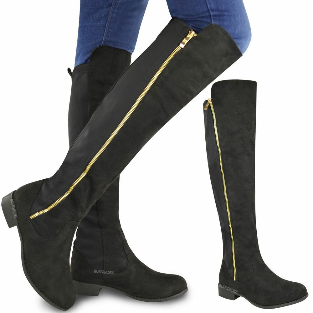 womens ladies flat stretch calf over the knee thigh high