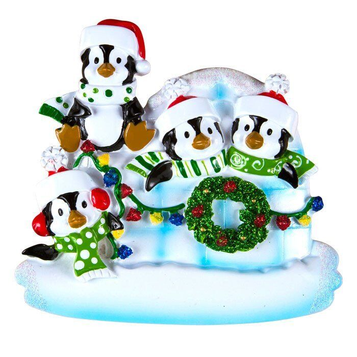 Penguin igloo family of 4 personalized christmas tree for Family of 4 christmas ornament