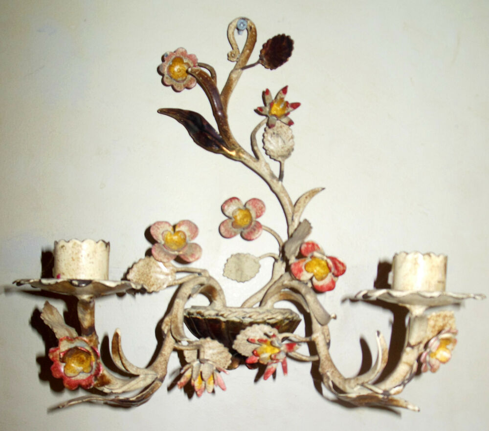 Wall Sconces That Hold Flowers: Vintage Italian Tole Painted Floral Wall Sconce