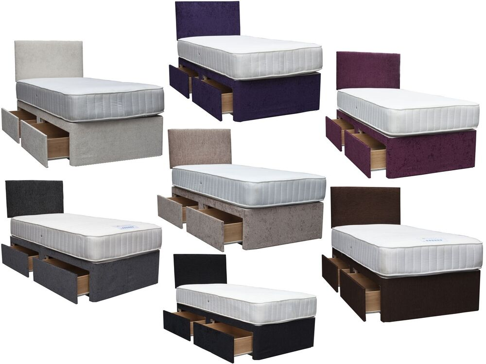Chenille divan bed base 3ft single 4ft small double 4ft for Single divan with drawers and headboard