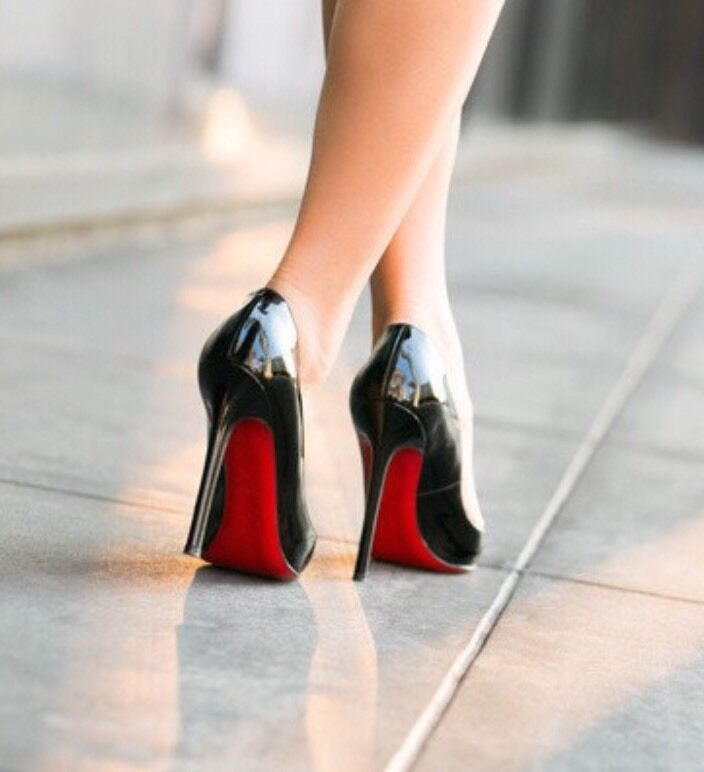 Black Heeled Shoes With Red Soles