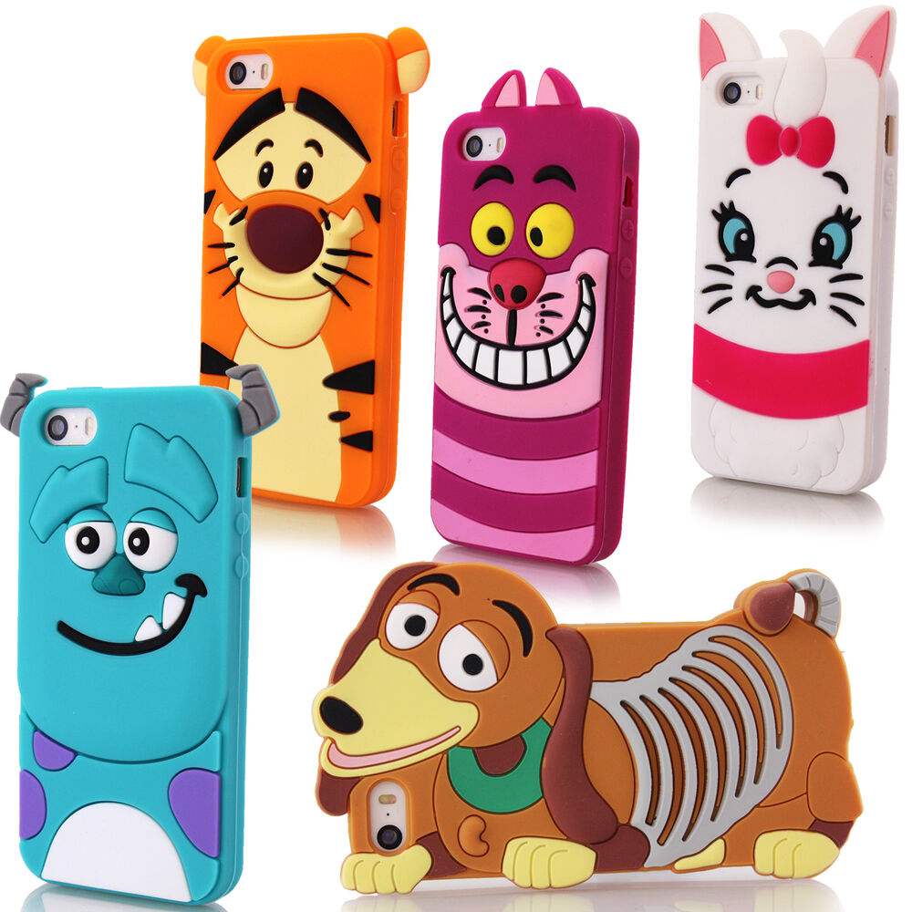 Cartoon Character 3d Silicone Case Rubber Cover For Apple