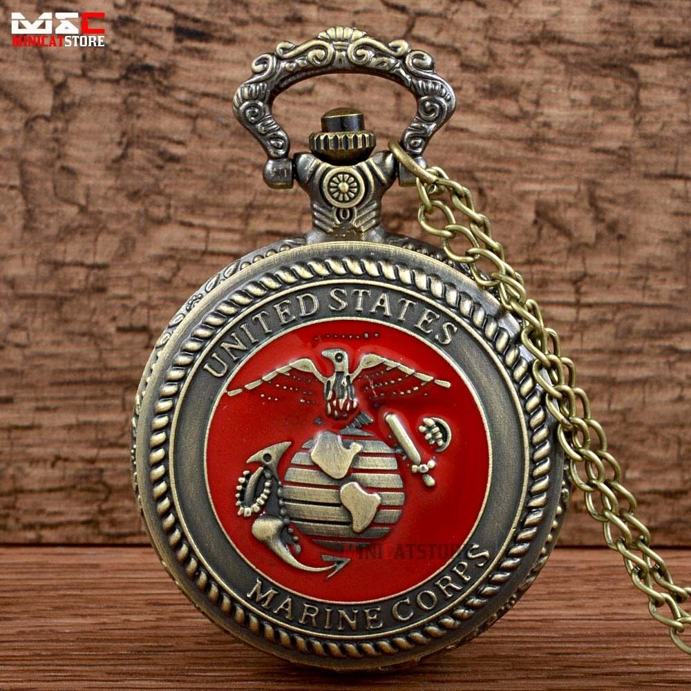 Men S Bronze Us Marine Corps Pocket Watch Vintage Quartz
