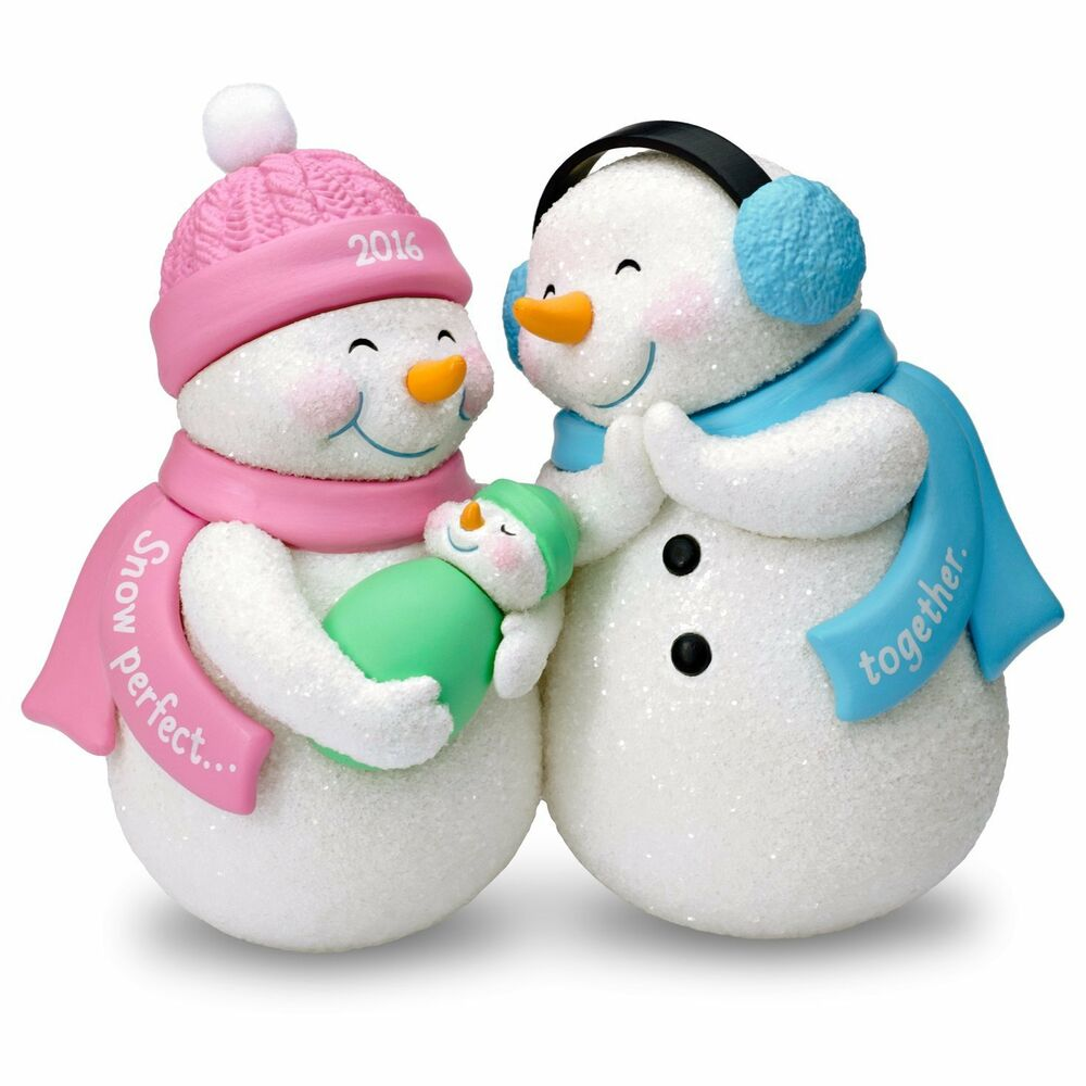 New parents 2016 hallmark ornament snowman family mom dad for Family christmas ornaments to make