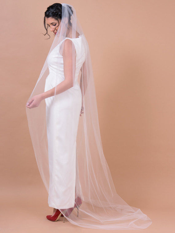 Wedding Veil Floor Chapel Cathedral Length Off White Ivory
