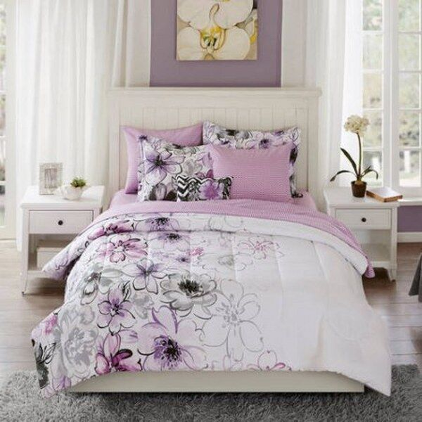 watercolor floral bedding comforter set collection queen luxury bed purple new ebay. Black Bedroom Furniture Sets. Home Design Ideas