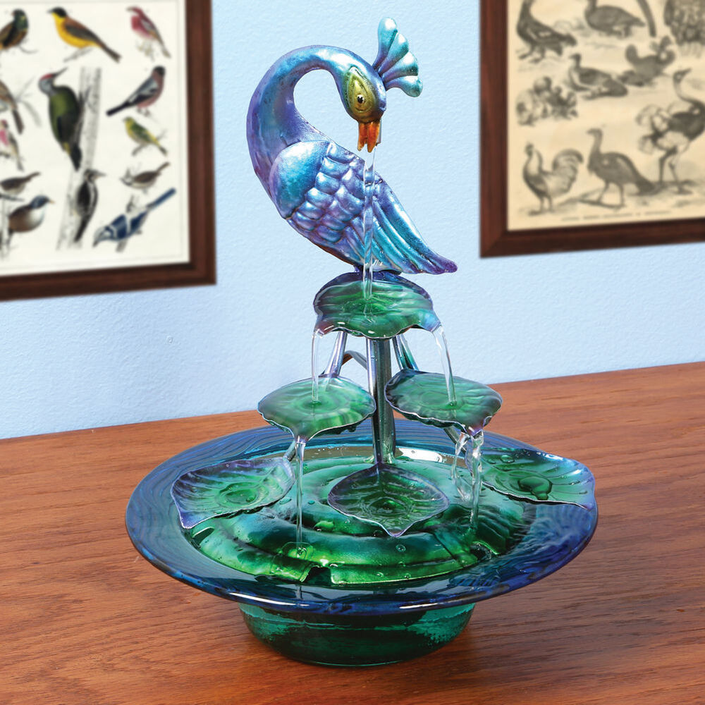 Decorative Glass And Metal Indoor Water Fountain Peacock