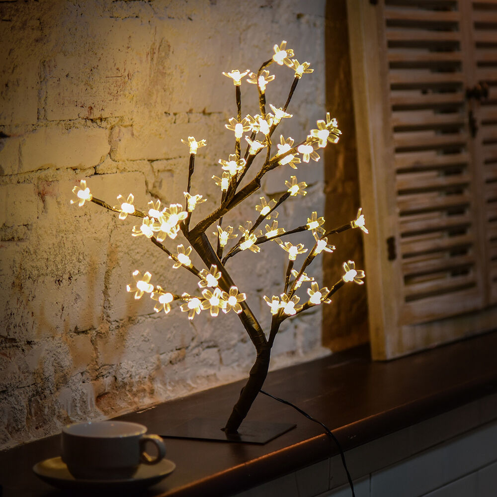 LED Cherry Blossom Desk Bonsai Tree Light Table Fairy Twig