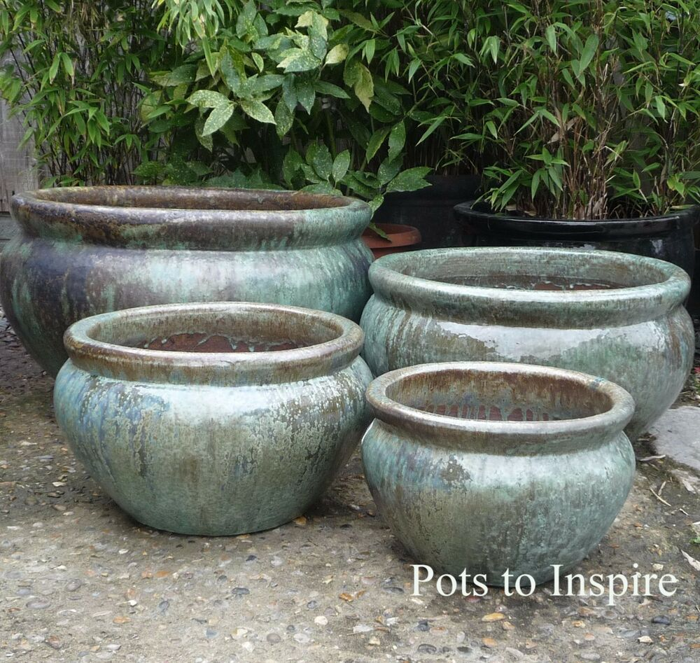 extra large opal green glazed low bowl planters garden pot ebay. Black Bedroom Furniture Sets. Home Design Ideas