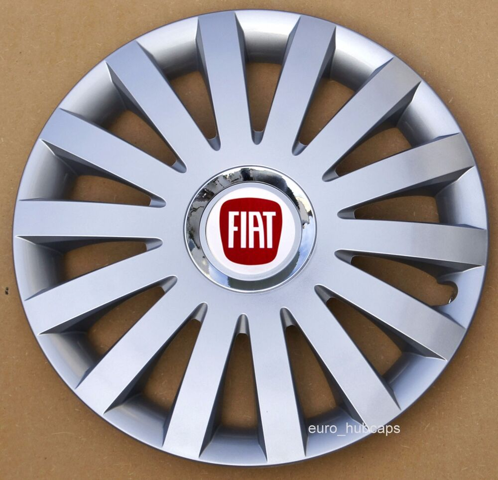 """silver 14"""" wheel trims, hub caps, covers to fit fiat 500 (quantity 4"""