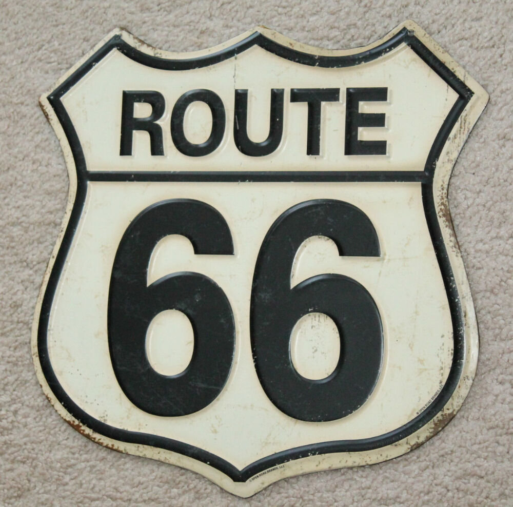 Vintage style route 66 highway man cave signs decor gas for Garage route 66 metz