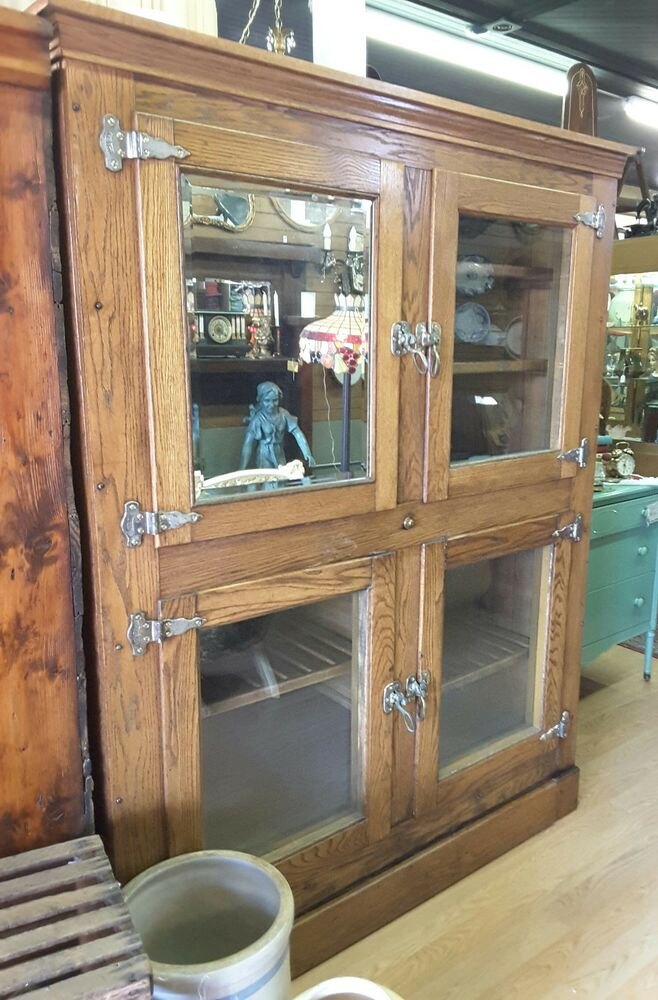 Large Antique 1900 S Mccray Oak Ice Box 4 Doors