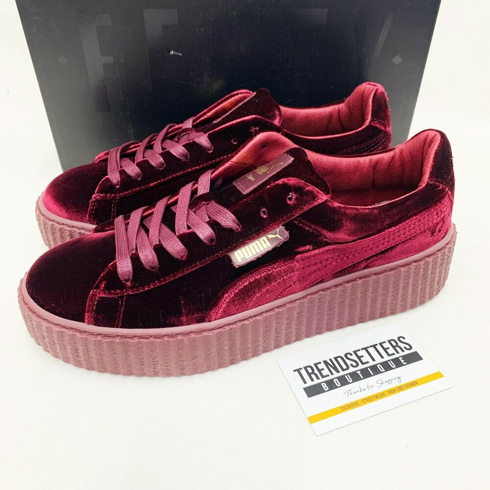 puma rihanna velvet creepers us uk 3 4 5 6 7 8 fenty creeper burgundy red purple ebay. Black Bedroom Furniture Sets. Home Design Ideas