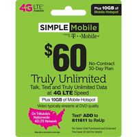 Simple Mobile Plan - Unlimited Talk, Text, Data with 30 Days of Service