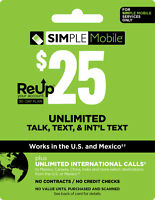 Simple Mobile Unlimited Plan - Unlimited Talk, Text with 30 Days of Service