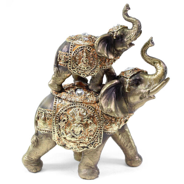 Feng Shui Bronze Up Down Elephant Trunk Statue Lucky