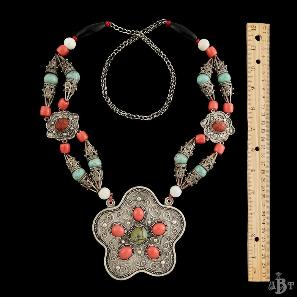 antique vintage deco sterling silver chinese tibetan turquoise coral necklace ebay. Black Bedroom Furniture Sets. Home Design Ideas