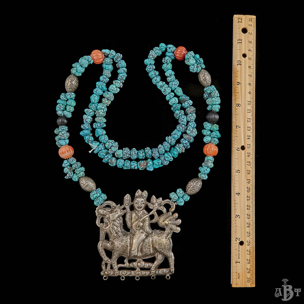 antique vintage deco sterling silver chinese turquoise kylin rider necklace ebay. Black Bedroom Furniture Sets. Home Design Ideas