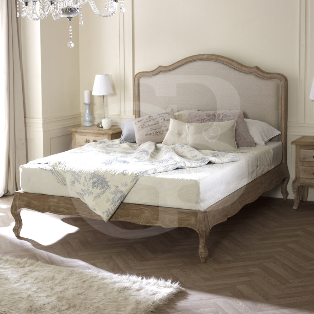 EGB49 French Solid Limed Oak Linen Upholstered Bed In