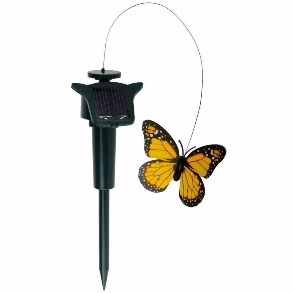 New solar powered fluttering butterfly garden flying for Outdoor butterfly ornaments