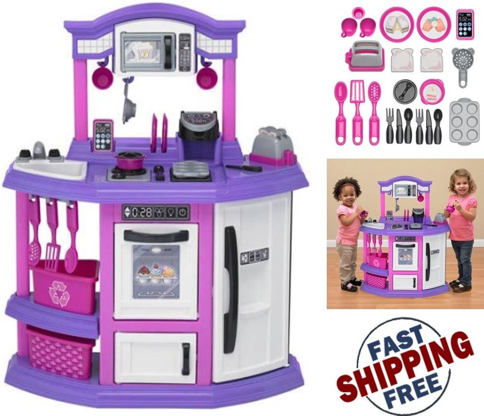 Pretend play set kitchen for kid pink cook food playset for Best kitchen set for 4 year old