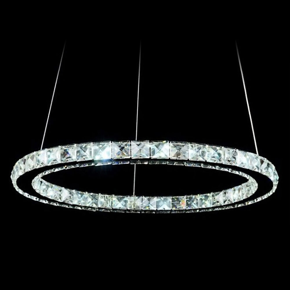 Modern 12W LED Crystal Pendant Oval Ring Lamp Ceiling