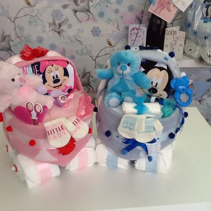Cool Baby Boy Gifts Uk : Baby shower girl boy gift nappy cake pram minnie or