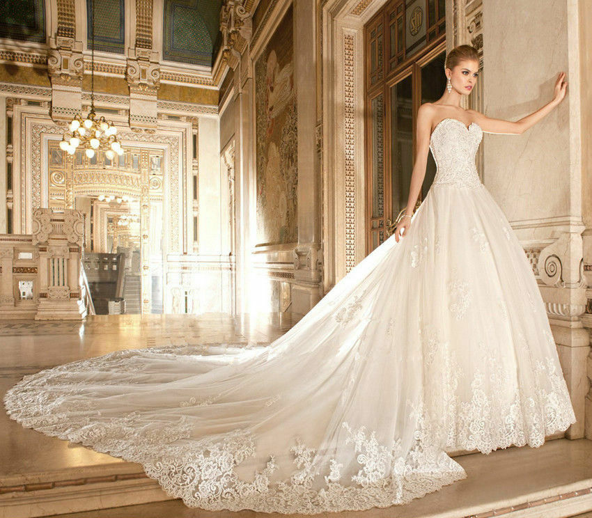 Detachable Cathedral Train Wedding Gown: White Ivory Lace Detachable Cathedral Train Wedding Dress