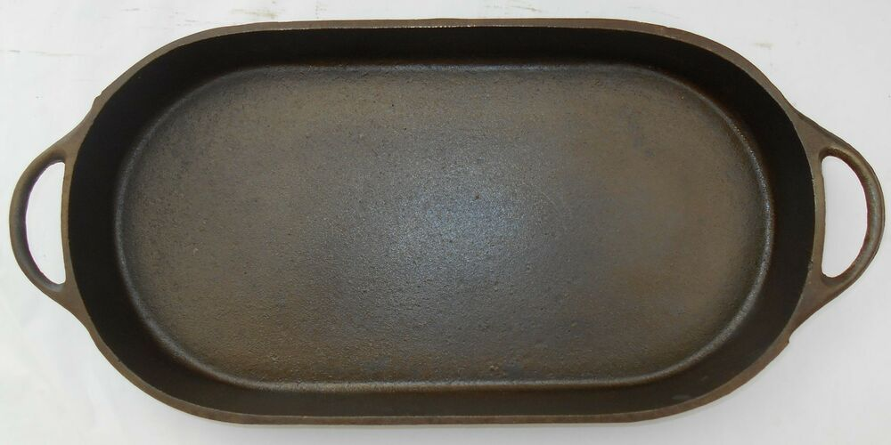 Fish frying pan seasoned cast iron 3052d sportsman oval for Cast iron fish