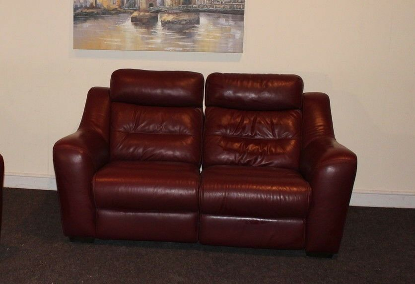 Halcyon deep red leather 2 seater manual reclining sofa ebay for Deep red sectional sofa