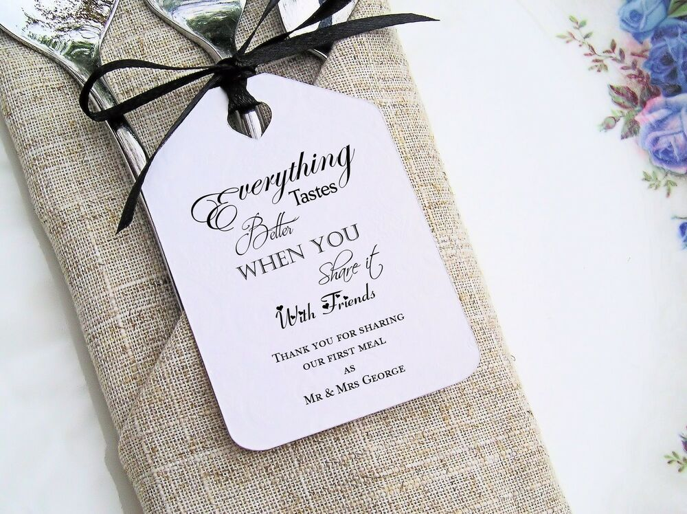 Wedding Favour Gift Tags: Personalised Printed Wedding Favour First Meal Napkin Gift