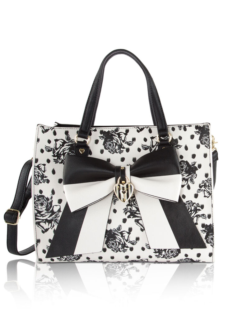 Betsey Johnson Bag In Bag Satchel Tote With Pouch Floral