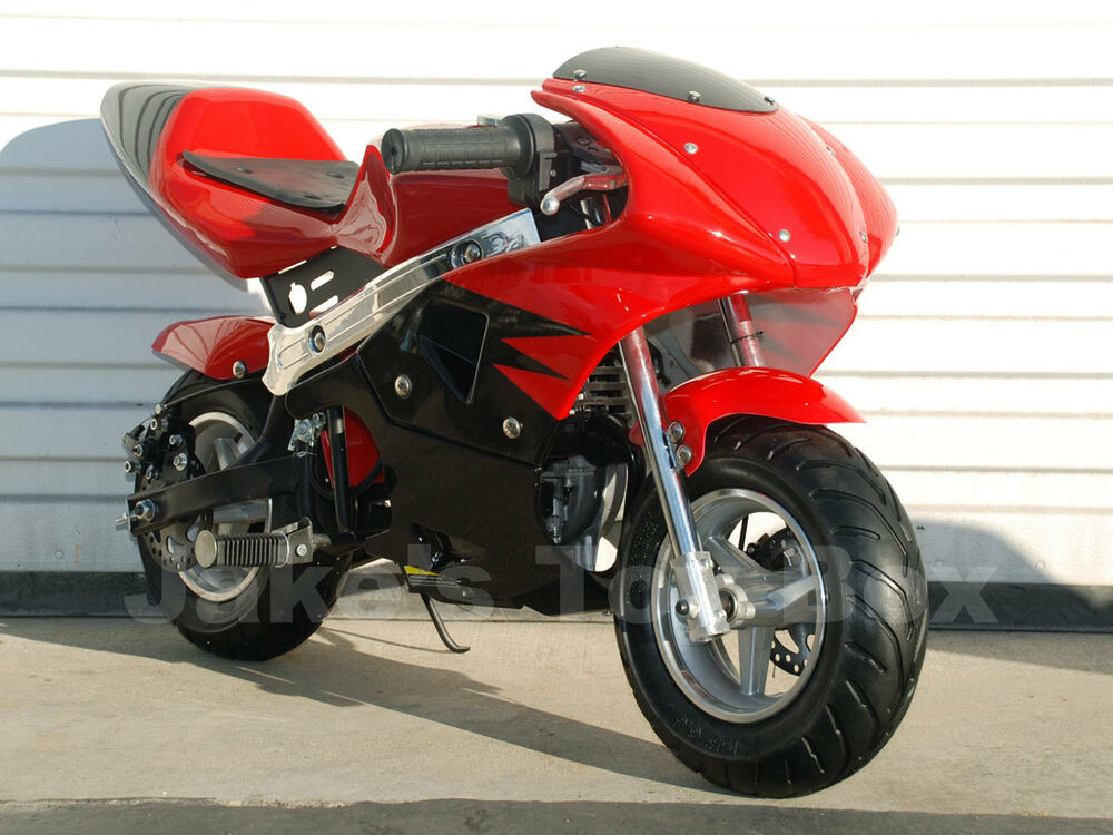 gas powered kids mini motorcycle 40cc pocket bike red ebay. Black Bedroom Furniture Sets. Home Design Ideas