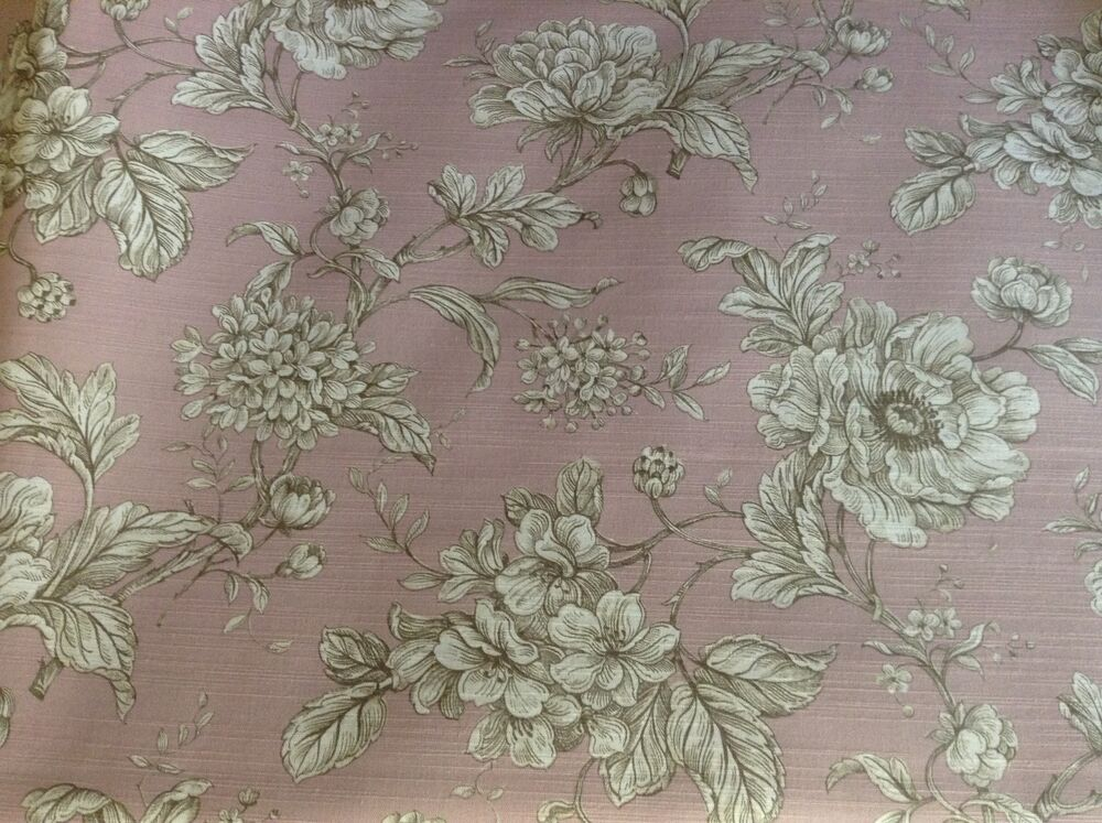 loire french floral toile de jouy dusky pink curtain craft fabric ebay. Black Bedroom Furniture Sets. Home Design Ideas