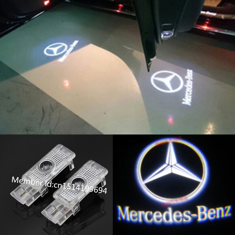 2x led white 3d logo door welcome projector light for for Mercedes benz projector lights