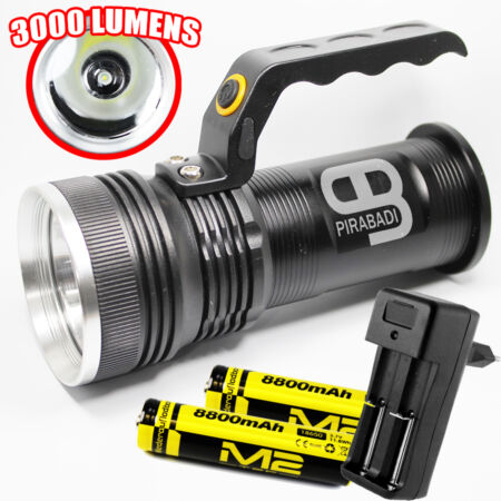img-SWAT POLICE 500M LAMPE TORCHE 3000 LUMENS 1 LED FLASHLIGHT + 2 PILES + CHARGEUR
