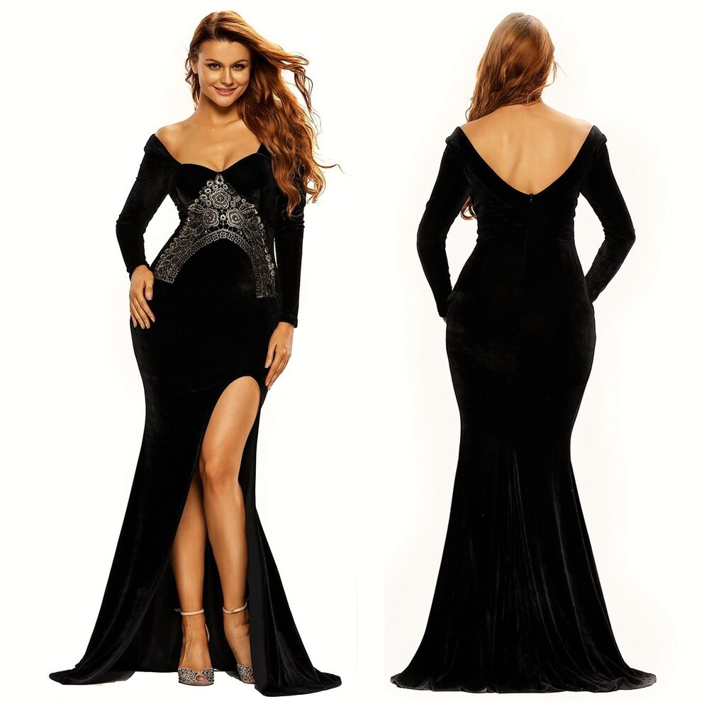Abendkleid Ball Cocktail Brautjungfern Verlobung Damen Kleid Samt ...