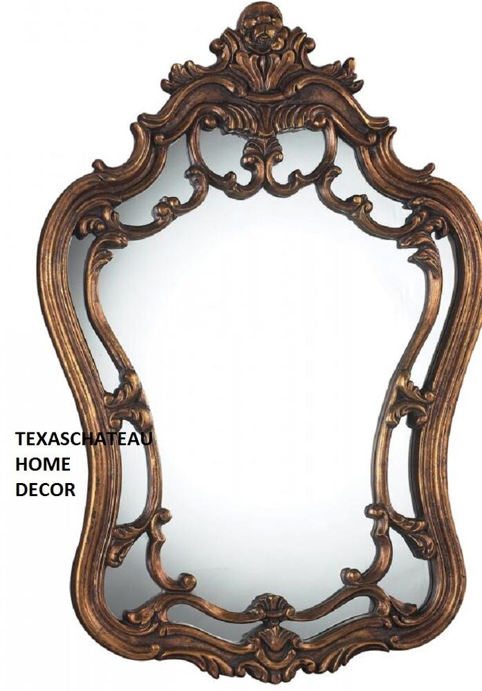 Old World French Ornate Arched Antique Bronze Gold Wall