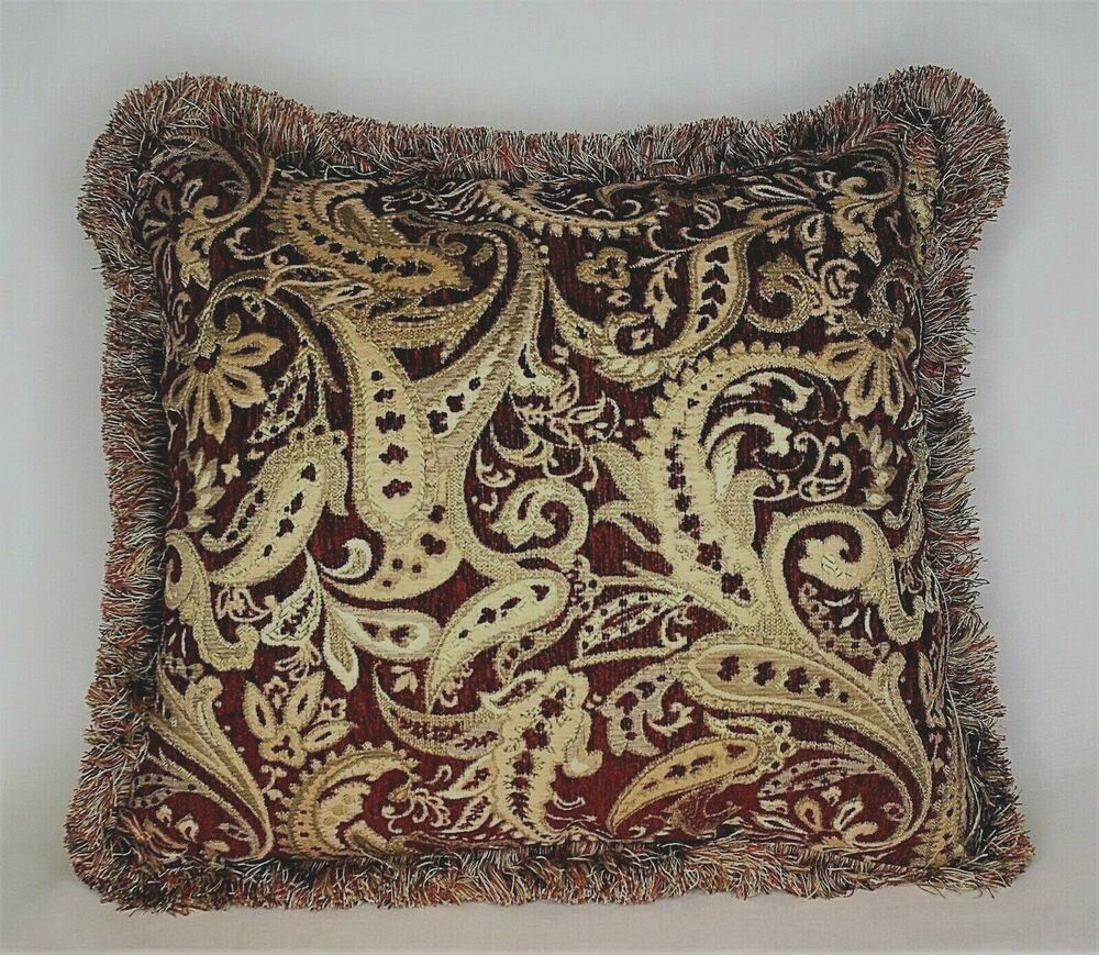 Red And Gold Chenille Woven Paisley Throw Pillow For Sofa