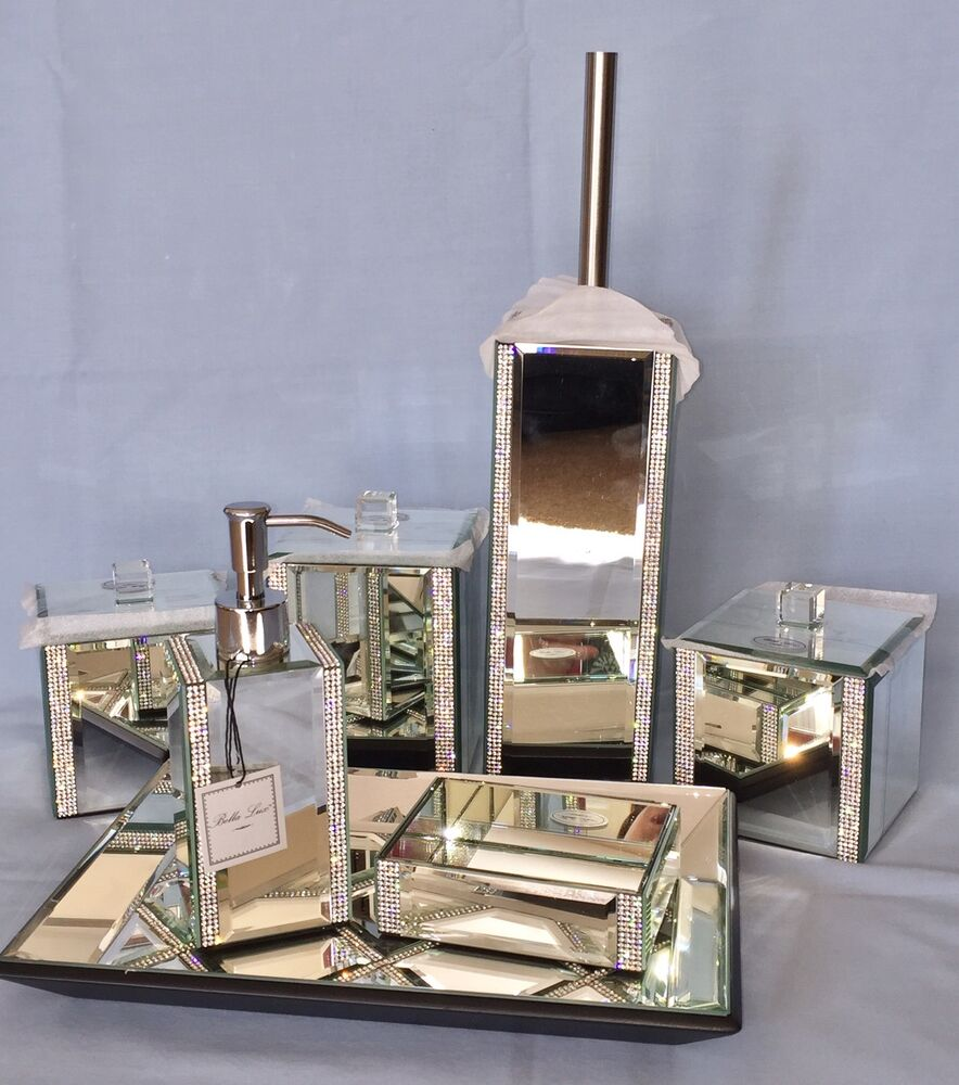 7pc bella lux mirrored crystal rhinestone bathroom bath for Bella lux bathroom accessories uk