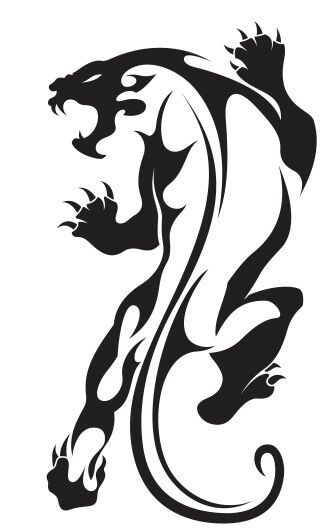 Nr18 tribal tattoo tiger jaguar panther decal vinyl for Embossed tattoo designs