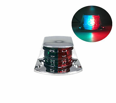 MARINE BOAT NAVIGATION RED GREEN CHROME PLATED HOUSING BI-COLOR BOW LIGHT BULB